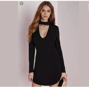 NWT Missguided Black Cocktail Choker Dress Size 4